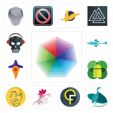 Set Of 13 simple editable icons such as heptagon, heron, qf, parlour, patel, mobile os a, travel, fishing team, skull with headphone can be used for mobile, web UI Stock Vector - 102022482