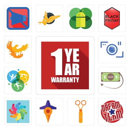 Set Of 13 simple editable icons such as 1 year warranty, dream team, scissors, travel, pinwheel, money back guarantee, swim bike run, camera, phoenix can be used for mobile, web UI