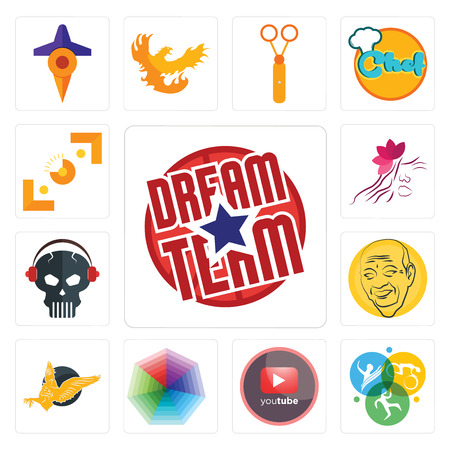 Set Of 13 simple editable icons such as dream team, swim bike run, pinetree, heptagon, gryphon, patel, skull with headphone, parlour, viewfinder can be used for mobile, web UI