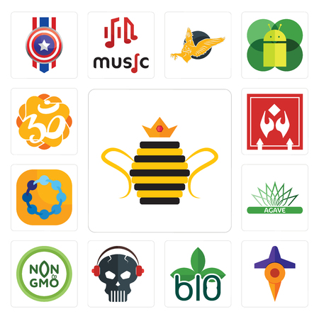 Set Of 13 simple editable icons such as queen bee, travel, biodegradable, skull with headphone, non gmo, agave, teamspirit, fragile handle care, aum can be used for mobile, web UI Иллюстрация
