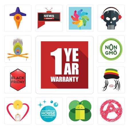Conjunto de 13 iconos editables sencillos como 1 año de garantía, anarquía, sistema operativo móvil, limpieza de la casa, lactancia materna, rastaman, black friday, non gmo, krishna puede utilizarse para móviles, la interfaz de usuario web