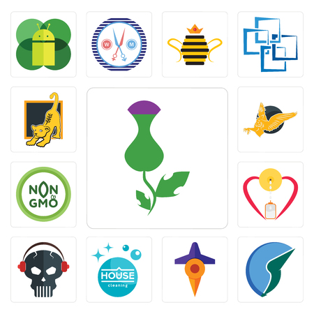 Set Of 13 simple editable icons such as thistle, trading co, travel, house cleaning, skull with headphone, breastfeeding, non gmo, gryphon, lion cub can be used for mobile, web UI