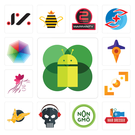 Set Of 13 simple editable icons such as mobile os a, hair dresser, non gmo, skull with headphone, gryphon, viewfinder, parlour, travel, heptagon can be used for mobile, web UI