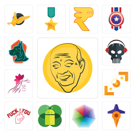 Set Of 13 simple editable icons such as patel, travel, heptagon, mobile os a, fuck you, viewfinder, parlour, skull with headphone, great dane can be used for mobile, web UI Stock Vector - 102067933