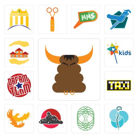 Set Of 13 simple editable icons such as bullshit, neurosurgery, celtic tree of life, kart, phoenix, taksi, dream team, kids channel, realtor can be used for mobile, web UI