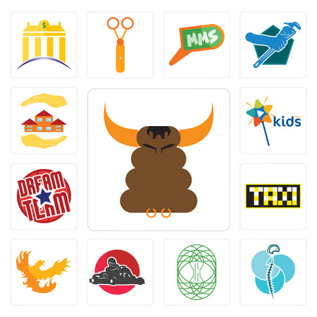 Set Of 13 simple editable icons such as bullshit, neurosurgery, celtic tree of life, kart, phoenix, taksi, dream team, kids channel, realtor can be used for mobile, web UI