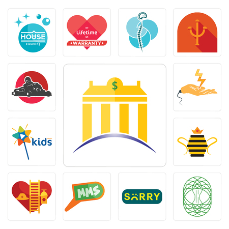 Set Of 13 simple editable icons such as banque, celtic tree of life, sorry, mms, volunteer fire department, queen bee, kids channel, electrical contractor, kart can be used for mobile, web UI Illustration