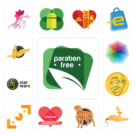 Set Of 13 simple editable icons such as paraben free, electrical contractor, rottweiler, lifetime warranty, viewfinder, patel, star wars, heptagon, gryphon can be used for mobile, web UI