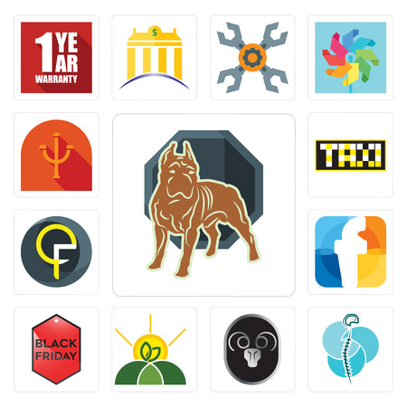 Set Of 13 simple editable icons such as pit bull, neurosurgery, ram, agro, black friday, f, qf, taksi, psi can be used for mobile, web UI Stock Vector - 102067947
