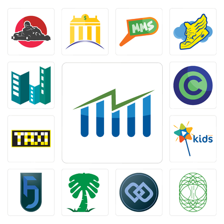 Set Of 13 simple editable icons such as free stock, celtic tree of life, double d, saudi palm, jf, kids channel, taksi, copyright free, construction can be used for mobile, web UI Ilustração