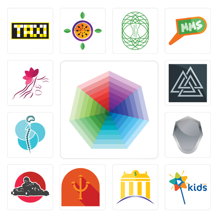 Set Of 13 simple editable icons such as heptagon, kids channel, banque, psi, kart, shield, neurosurgery, valknut, parlour can be used for mobile, web UI Stock Vector - 102022492