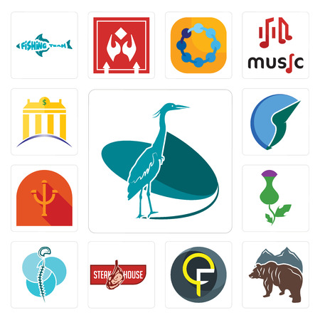 Set Of 13 simple editable icons such as heron, free bear, qf, steakhouse, neurosurgery, thistle, psi, trading co, banque can be used for mobile, web UI