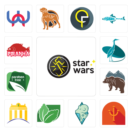 Set Of 13 simple editable icons such as psi, rams, stevia, banque, free bear, paraben free, heron, piranha can be used for mobile, web UI
