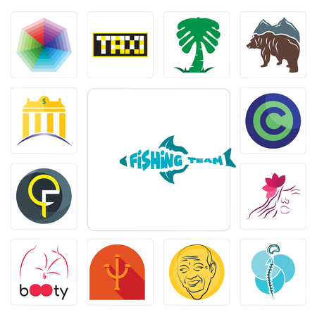 Set Of 13 simple editable icons such as fishing team, neurosurgery, patel, psi, booty, parlour, qf, copyright free, banque can be used for mobile, web UI