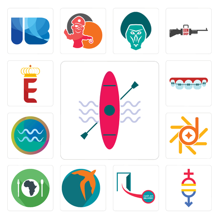 Set Of 13 simple editable icons such as kayak, gender equality, cash on delivery, swift, hunger, d-star, aquarius, orthodontist, e crown can be used for mobile, web UI