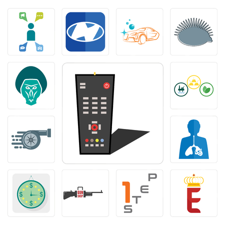 Set Of 13 simple editable icons such as tv remote, e crown, step 1, gun shop, estimate, inflammation, turbo, commodities, baboon can be used for mobile, web UI Stock Illustratie