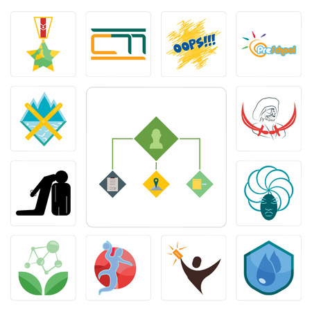Set Of 13 simple editable icons such as order management, water resistant, lucky draw, handball, antioxidant, goddess, execution, pirate, crossed skis can be used for mobile, web UI