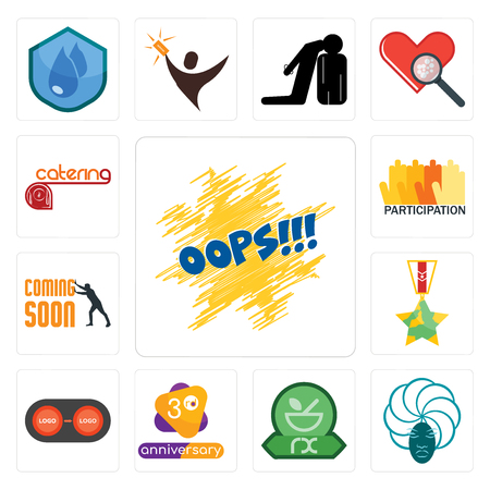 Set Of 13 simple editable icons such as oops, goddess, pharmacy, 3rd anniversary, convert, veteran, soon, participation, catering can be used for mobile, web UI Stock fotó - 102142124