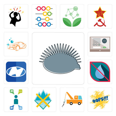 Set Of 13 simple editable icons such as hedgehog, oops, tow truck, crossed skis, campaign management, no water, h, online form, carwash can be used for mobile, web UI