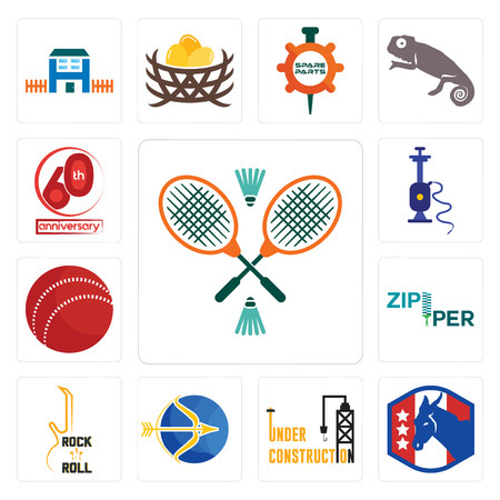 Set Of 13 simple editable icons such as badminton, democratic party, under construction, sagittarius, rock n roll, zipper, cricket ball, shisha, 60th anniversary can be used for mobile, web UI Ilustrace