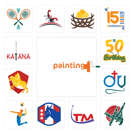Set Of 13 simple editable icons such as painting company, judo, trademark, democratic party, volley, dr., knight on horse, 50th birthday, katana can be used for mobile, web UI 向量圖像