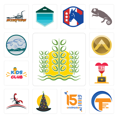 Set Of 13 simple editable icons such as paddy, traders, 15th anniversary, wizard hat, scorpion, best kids club, spartan shield, offroad can be used for mobile, web UI