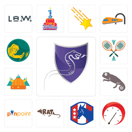Set Of 13 simple editable icons such as viper, tachometer, democratic party, rat, pinpoint, chameleon, norse, badminton, welder can be used for mobile, web UI