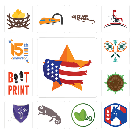 Set Of 13 simple editable icons such as us map, democratic party, veg, chameleon, viper, sawmill, boot print, badminton, 15th anniversary can be used for mobile, web UI