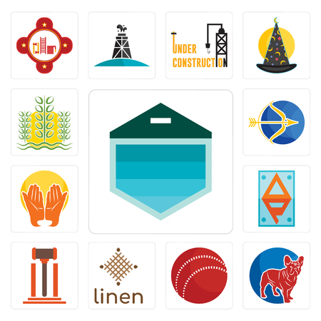 Set Of 13 simple editable icons such as garage door, french bulldog, cricket ball, linen, legal, ap, prayer hands, sagittarius, paddy can be used for mobile, web UI