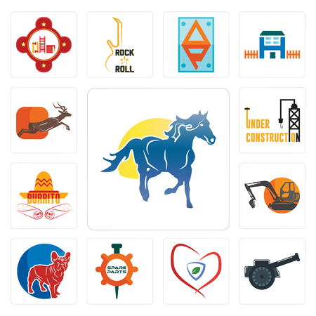 Set Of 13 simple editable icons such as mustang mascot, cannon, insurance, spare parts, french bulldog, digger, burrito, under construction, antelope can be used for mobile, web UI