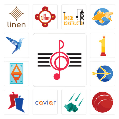 Set Of 13 simple editable icons such as treble clef, cricket ball, meteorite, caviar, debate, sagittarius, ap, no.1, colibri can be used for mobile, web UI