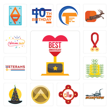 Set Of 13 simple editable icons such as best anniversary, scorpions, fire station, spartan shield, wizard hat, paddy, veterans day, cancer awareness, welcome back can be used for mobile, web UI