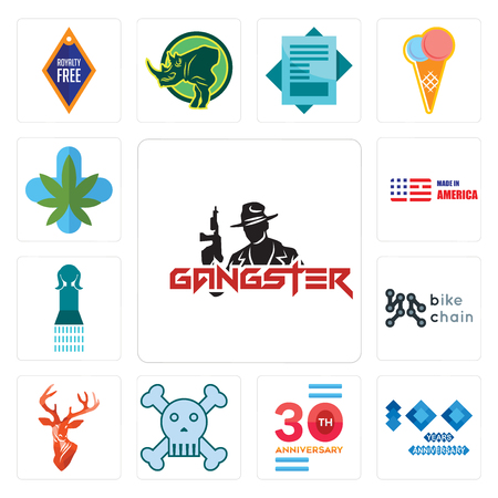 Set Of 13 simple editable icons such as gangster, 100 year anniversary, 30 skull and crossbones, stag head, bike chain, girls bathroom, made in america can be used for mobile, web UI