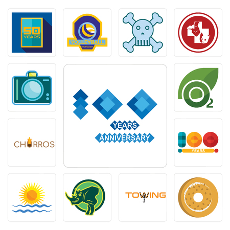 Set Of 13 simple editable icons such as 100 year anniversary, bagel, towing, rhino, rising sun, year, churros, oxygen, dslr can be used for mobile, web UI Illustration
