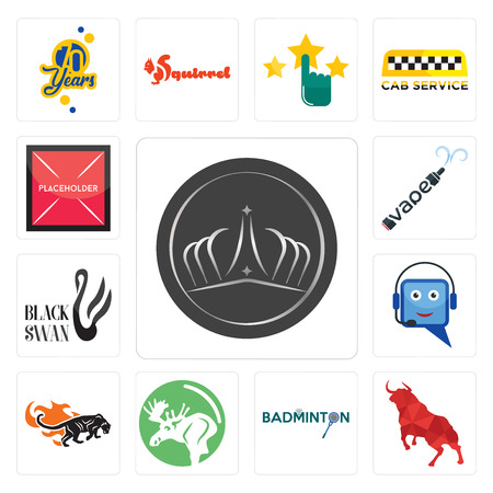 Set Of 13 simple editable icons such as tiara, bull, badminton, moose, black panthers, helpdesk, swan, vape, placeholder can be used for mobile, web UI  イラスト・ベクター素材