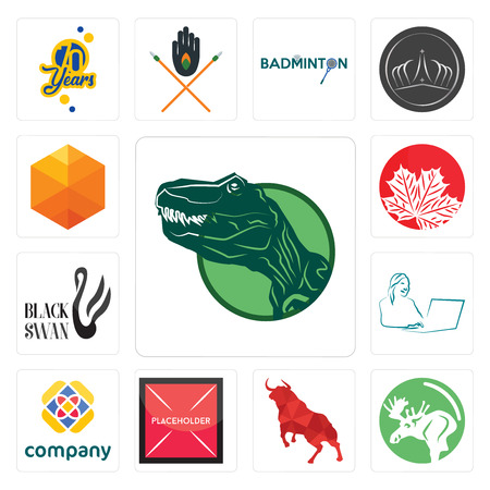 Set Of 13 simple editable icons such as dino, moose, bull, placeholder, free, secretary, black swan, canadian leaf, cubic can be used for mobile, web UI