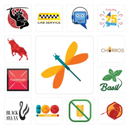 Set Of 13 simple editable icons such as dragonfly, sparta, gluten free, 100 year, black swan, basil, placeholder, churros, bull can be used for mobile, web UI