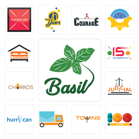 Set Of 13 simple editable icons such as basil, 100 year, towing, post car, hurrican, judicial, churros, 15 years celebration, lodging can be used for mobile, web UI