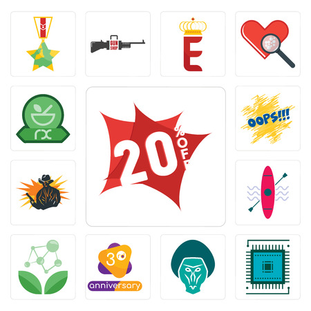 Set Of 13 simple editable icons such as 20% off, sem, baboon, 3rd anniversary, antioxidant, kayak, outlaw, oops, pharmacy can be used for mobile, web UI Illustration
