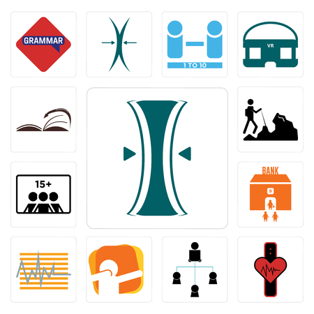 Set Of 13 simple editable icons such as elastic, tracker, distributor, dab, bank branch, number of players, hiker, page turn can be used for mobile, web UI Illustration