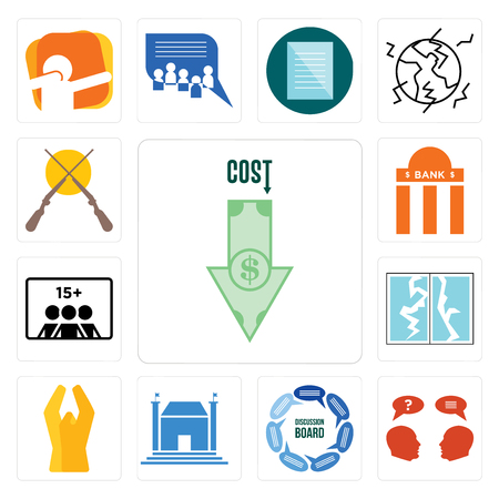 Set Of 13 simple editable icons such as cost uction, inquiry, discussion board, municipal, folded hands, broken glass, number of players, bank branch, shotgun can be used for mobile, web UI Ilustrace