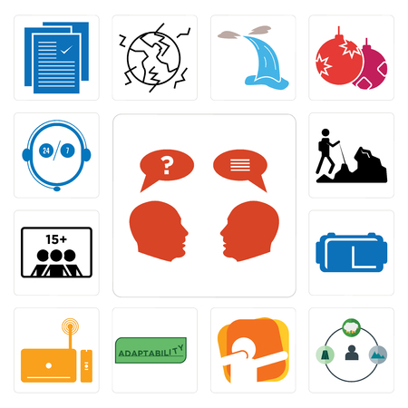 Set Of 13 simple editable icons such as inquiry, shepherd, dab, adaptability, set top box, vr headset, number of players, hiker, live support can be used for mobile, web UI Stock Illustratie