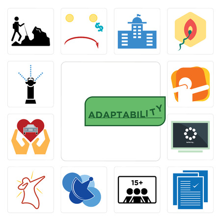 Set Of 13 simple editable icons such as adaptability, specification, number of players, telecom, dab, buffering, car dealer, sprinkler can be used for mobile, web UI