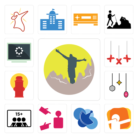Set Of 13 simple editable icons such as hiker, dab, telecom, advisor, number of players, christmas bulb, fire hydrant, xxx, buffering can be used for mobile, web UI