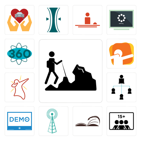 Set Of 13 simple editable icons such as hiker, number of players, page turn, cell tower, demo, distributor, dab, 360 degree can be used for mobile, web UI Illustration