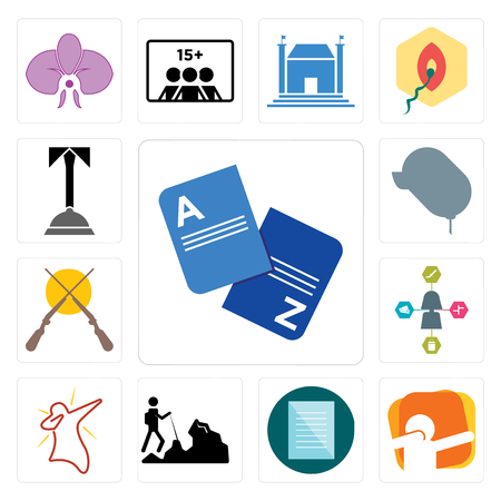 Set Of 13 simple editable icons such as vocabulary, dab, specification, hiker, travel agent, shotgun, car dealer, concierge can be used for mobile, web UI