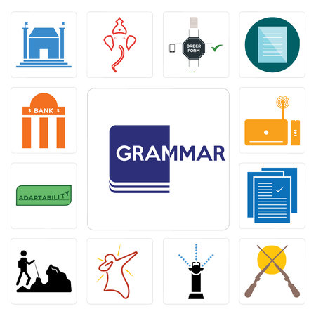 Set Of 13 simple editable icons such as grammar, shotgun, sprinkler, dab, hiker, specification, adaptability, set top box, bank branch can be used for mobile, web UI