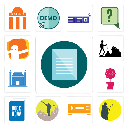 Set Of 13 simple editable icons such as specification, shepherd, set top box, hiker, book now, orchid, municipal, dab can be used for mobile, web UI