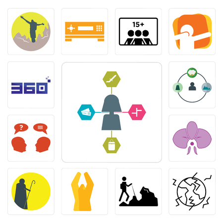 Set Of 13 simple editable icons such as travel agent, earthquake, hiker, folded hands, shepherd, orchid, inquiry, 360 degree can be used for mobile, web UI 일러스트