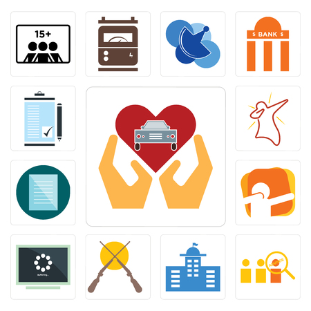 Set Of 13 simple editable icons such as car dealer, advisor, municipal, shotgun, buffering, dab, specification, order form can be used for mobile, web UI